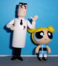 POWERPUFF GIRLS LOT  Professor Utonium & BUBBLES MINI PVC  Action Figure  NEW