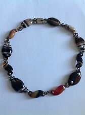 Antique Scottish Sterling Silver Mounted Polished Agate Panel Necklace