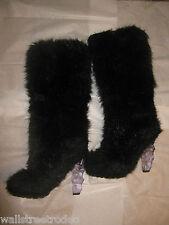 Chanel 2010 Fur Ice Heel Ski Apres Fantasy Black Boots 40.5