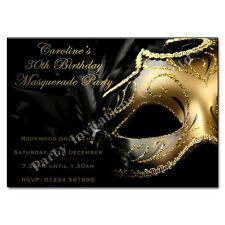 Masquerade / Masked Ball Themed Personalised Birthday Party Invitations