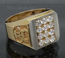 14K Solid White Yellow Gold Bull Taurus 12 Clear CZ Pave Men's Ring size 10