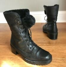 Bally Womens Black Leather Fur Lined Lace-Up Combat Ankle Boots Sz 6