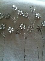 18 Tiny Silver Crystal Daisy On 6 Wire Stems Wedding Bridal Flowers Floral Craft
