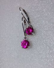 925 Sterling Silver 6mm Round HOT Pink Sapphire Dangle Lever Back Earrings