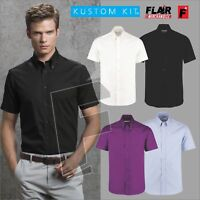 Kustom Kit Men's Short Sleeve Tailored Fit Premium Oxford Shirt