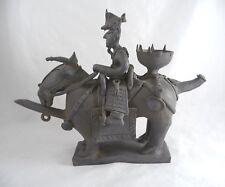 Korean Horse & Rider Shaped Clay Funerary Vessel Silla Period Reproduction
