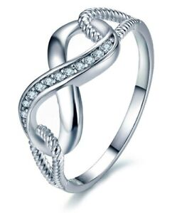 Valentine Day Love Infinity Rings For Women 925 Sterling Silver  ***FREE POST***
