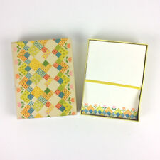 American Greetings Patchwork Calico Tulips Stationery Set Paper Envelopes 1975