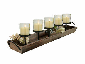 27.5 in. Rustic Wood Candle Centerpiece Tray w/ Five Metal Candle Holders