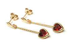 9ct Gold Garnet heart drop Earrings Gift Boxed Made in UK