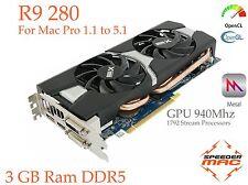  Radeon R9 280 for Mac Pro 3.1 ~ 5.1 AMD  3GB Ram GDDR5, GPU 940Mhz, 4k,  Metal