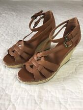 Old Navy Women's Brown Cross Strap Espadrille Wedges Size 8