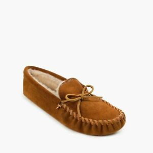 Minnetonka Men's Pile Lined Softsole Suede Slippers - Brown 763 NIB