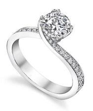 950 Platinum 0.66 Carat Round Cut Real Diamond Beautiful Rings T