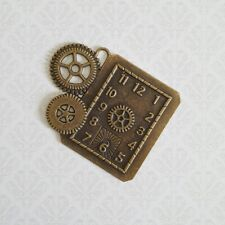 Steampunk - Gothic - Bronze Clock Cog Pendant Charm -