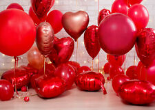 Valentine's Day Red Heart Shaped Balloons 7x5ft Backdrop Vinyl Photo Background