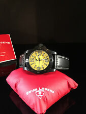 Swiss Legend Men's 20188-BB-02 Conqueror Yellow Dial Black Leather Watch