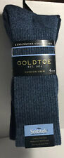 New With Tags GOLDTOE Mens 4 Pair Kensington Cushion Crew Socks Blue