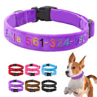 Nylon Personalized Dog Collar Embroidered Padded with Name and Phone Number S-L