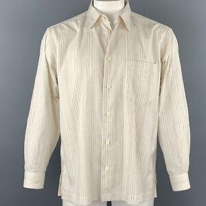 ISSEY MIYAKE Size L Beige Stripe Wrinked Polyester / Cotton Long Sleeve Shirt