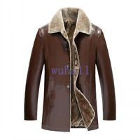 Men's Winter Fur Lining Casual Motorcycle Sheepskin Leather Jacket Coat Outwear