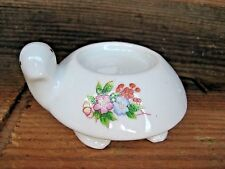 Vintage Porcelain Turtle Figurine Votive Candle Holder Collectible