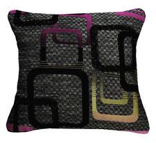 Qb303ba Fuschia Red Black Grey Linen Blend Checker Cushion Cover/Pillow Case