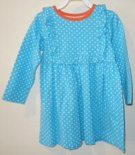 New Kelly's Kids Turquoise Small Dot Ruffle Bib Paula Dress Girl's Size 4-5
