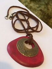 Ornate Brass Red Wood Pendant Brown Cord Necklace #D7
