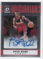 2016-17 Spud Webb Auto #/25 Panini Donruss Optic Dominator Signatures #32 Hawks
