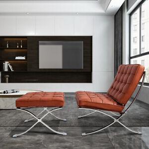 Barcelon-a Chair Lounge Chair & Footstool Leather Club Chair Art Gallery Decor