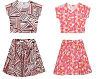 New Girls Kids Bright Summer Party Outfit Crop Top Skater Skirt Striped Age 7-13