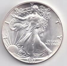 1987  Uncirculated American Silver Eagle  1-Troy oz. .999 Silver. Eagle is White