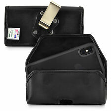 iPhone 11 Pro, XS & X Belt Case Holster Black Leather Rotating Clip