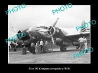 OLD LARGE HISTORICAL PHOTO OF ESSO OIL COMPANY AEROPLANE c1950S