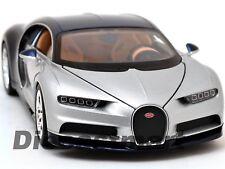 BUGATTI CHIRON SILVER/ BLUE 1:24 DIECAST MODEL CAR BY WELLY 24077W-SIL NEW