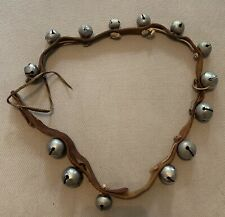 Vintage 14 Horse Sleigh Jingle Bells On Leather Strip