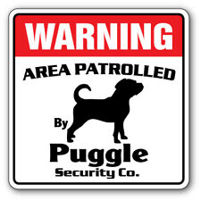 Puggle Security Decal Area Patrolled by pet signs dog owner lover kennel boardin
