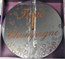 Wall Clock Round Mirrored with Gold Text Time For Champagne & Bubbles Design