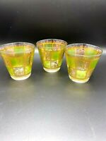 Vintage Culver Mid Century Prado Green Glass Set of 3 Low Ball Glasses 22K