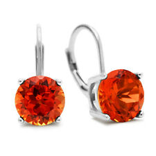 STERLING SILVER 5CT ROUND PADPARADSCHA SAPPHIRE LEVERBACK DROP EARRINGS
