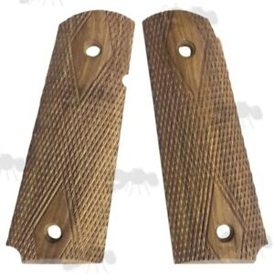 Pair of 1911 Wooden Pistol Grips - Hand Cut Diamond Textured Finished Teak Wood