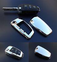 Für Audi CHROM Klapp Schlüssel Cover Key Cover Schlüssel Funk Fernbedienung