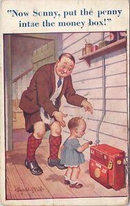 DB Bamforth & Co. postcard, Donald McGill, penny in the money box, artist signed