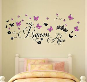 Personalised Name, Princess, Crown, 3D Butterflies, Vinyl Wall Sticker,diamantes