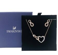 Swarovski Rose Gold Pave Infinity Heart Necklace Earrings Gift Set 5521040