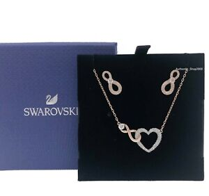 New SWAROVSKI Rose Gold Pave Infinity Heart Necklace + Earrings Gift set 5521040