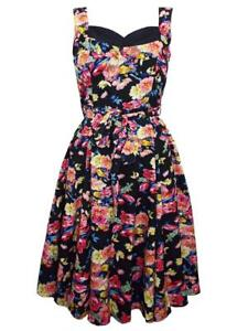 LOOKING GLAM BLACK/MULTI FLORAL SWEETHEART 50s RETRO DRESS - SIZES 10 - 22