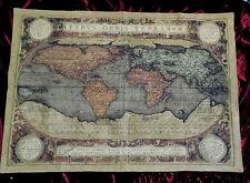 Tapiz Tapiz ITALY VINTAGE OLD Mapa Mapamundi Retro Diseño Verde 140x110cm