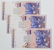 1996 -1999 MALAYSIA RM2 ALI SIDE CONSECUTIVE 3 NOTES PREFIX DG @UNC [P-40b]